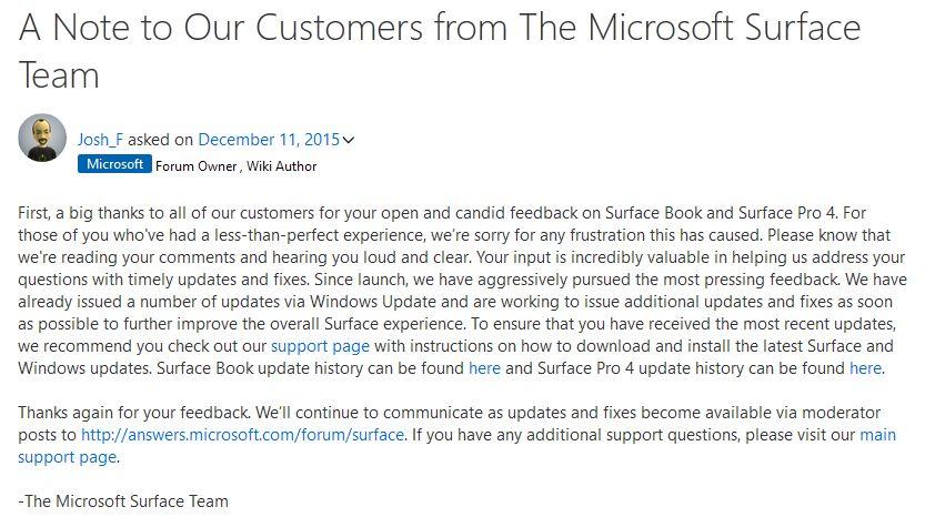 Entschuldigung des Microsoft Teams im Support Forum bei allen Surface Kunden