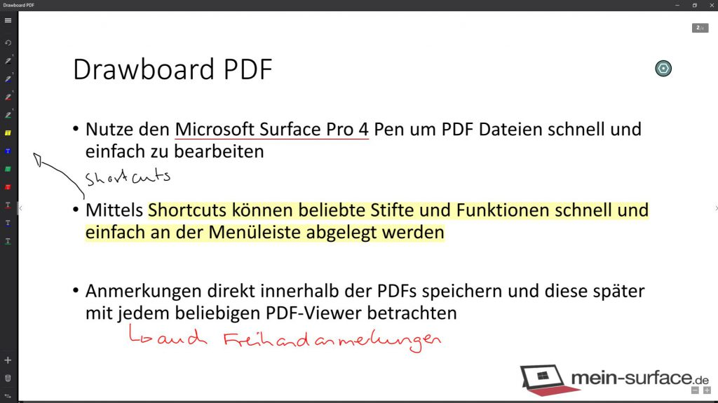 Bearbeitungsbeispiel einer PDF-Seite mit der App Drawboard PDF und dem Microsoft Surface Pro 4 inkl. Surface Pen