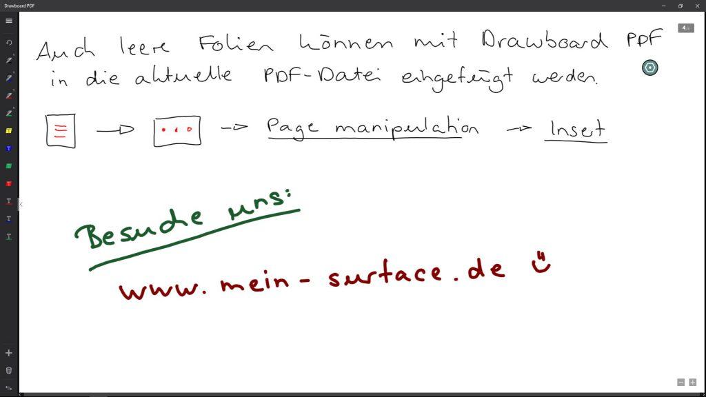 Eine leere neue Seite innerhalb der PDF-Datei. Erstellt mit Drawboard PDF auf dem Microsoft Surface Pro 4.