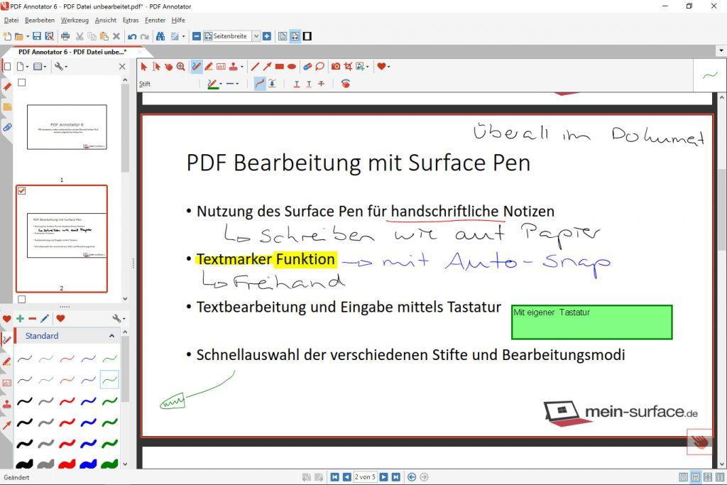 Ansicht der PDF Bearbeitung mit dem PDF Annotator in der normalen Ansicht