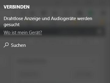 """Suchen neuer Geräte nach dem Auswählen der """"Verbinden"""" Option im InfoMenü"""